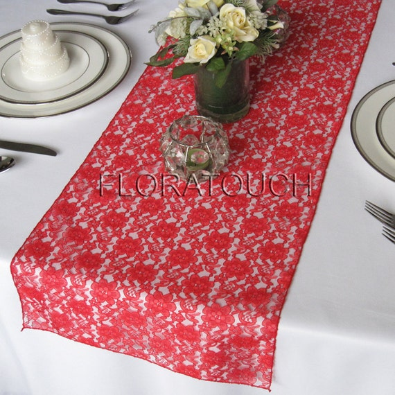 Runner Table Lace length by on runner overhang  Wedding Etsy table Red floratouch