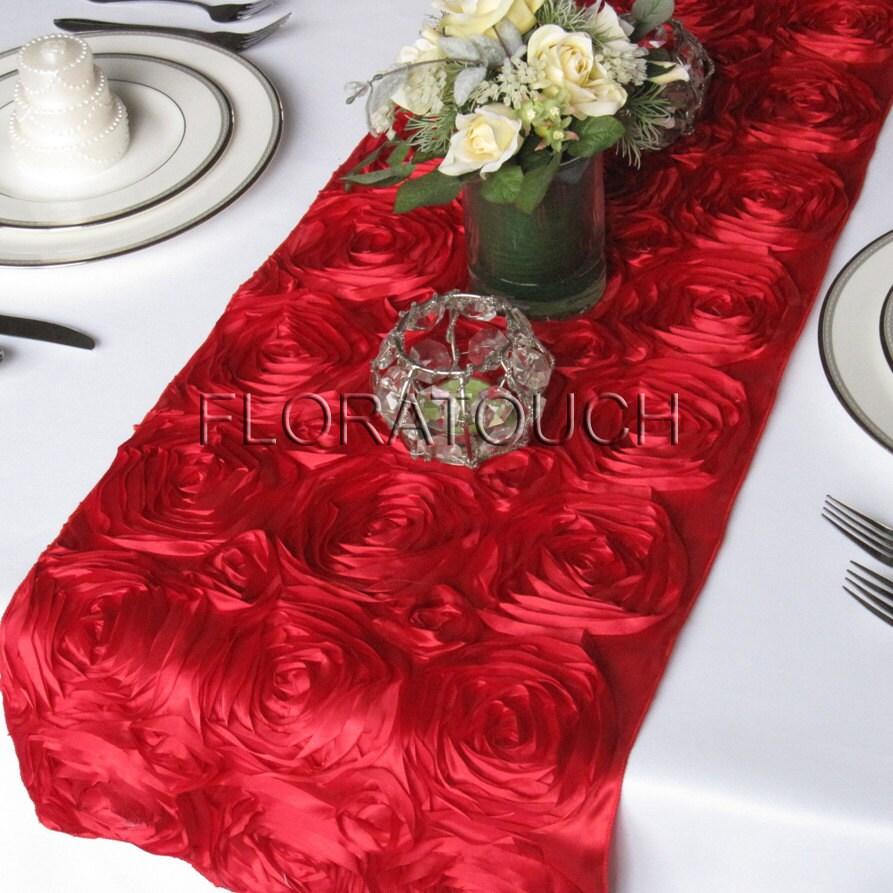 red satin ribbon rosette table runner wedding table runner. Black Bedroom Furniture Sets. Home Design Ideas