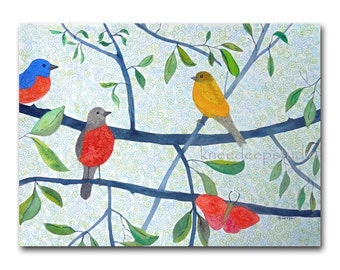 Birds in Summer Watercolor Painting 9x12 Fine Art on Paper in Mat Colorful Contemporary Wall Decor Woodland Birds Butterfly Art for Nursery