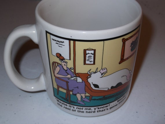 The Far Side Coffee Mug It's Not Me It's The Rest of The Herd 1988 cow therapy Gary Larson Comic Strip 1980s