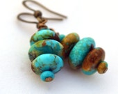 The Original - Antiqued Brass and Kingman Boulder Turquoise Earrings