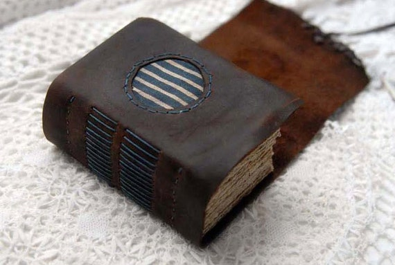 Words in the Wings - Small Dark Brown Distressed Leather Journal with Aged Paper, Striped Fabric & Vintage Ink Dragonfly Stamps