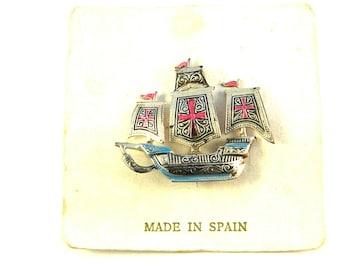 Spanish Damascene Ship vintage Brooch