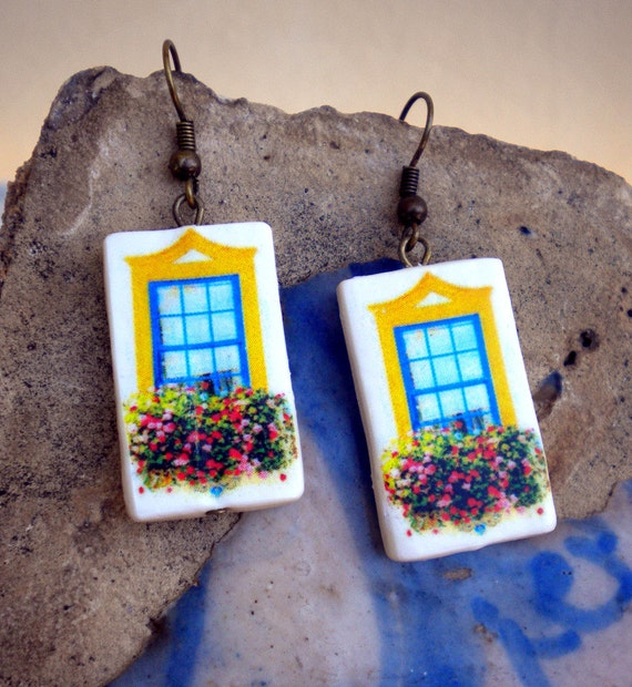 The Colorful Windows of Portugal Antique Replica Earrings - Aveiro