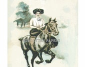 A Morning Canter - Lovely Side Saddle EDWARDIAN Lady - Beautiful HAND PAINTED Illustrated Vintage Unused Postcard