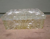 """Vintage Hollywood REgency Vanity Box Two Piece Heavy Thick Lucite 7.5 x 4.5 x 3"""""""