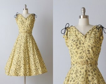 Vintage 1940s Dress / 40s Dress / Sleeveless / Cotton / Social Butterfly