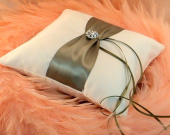 Bridal Satin and Sash Ring Bearer Pillow with Rhinestone Button Accent....You Choose The Colors... Shown in ivory/old willow green