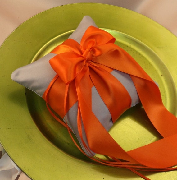 Romantic Satin Mini Size Ring Bearer Pillow...You Choose the Colors...Buy One Get One Half Off... shown in silver gray/orange