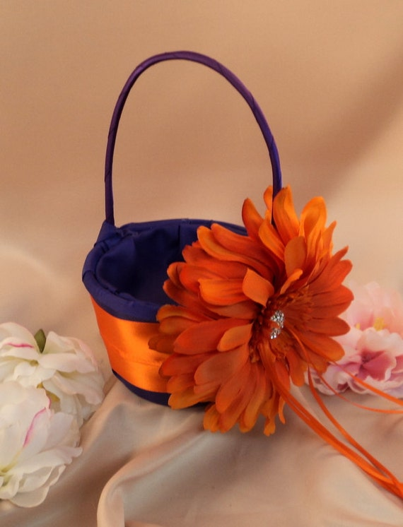 Romantic Dahlia Bloom Flower Girl Basket with Rhinestone Accent..You Choose The Colors..shown in purple/orange