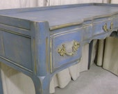Shabby Blue French Provincial Desk / Vanity Console  - Chic DK901 - Widdicomb Grand Rapids piece