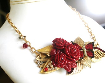 Upcycled Vintage RED ROSE Butterfly Collage Cluster Crystal Rhinestone Necklace