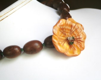 Mustard Yellow Dyed Mother of Pearl Carved Flower Oval Wood Swarovski Crystal Sterling Silver Necklace