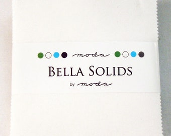 SUMMER SALE - Bella Solids White - Charm Pack - by Moda Fabrics - Color SKU 9900 98