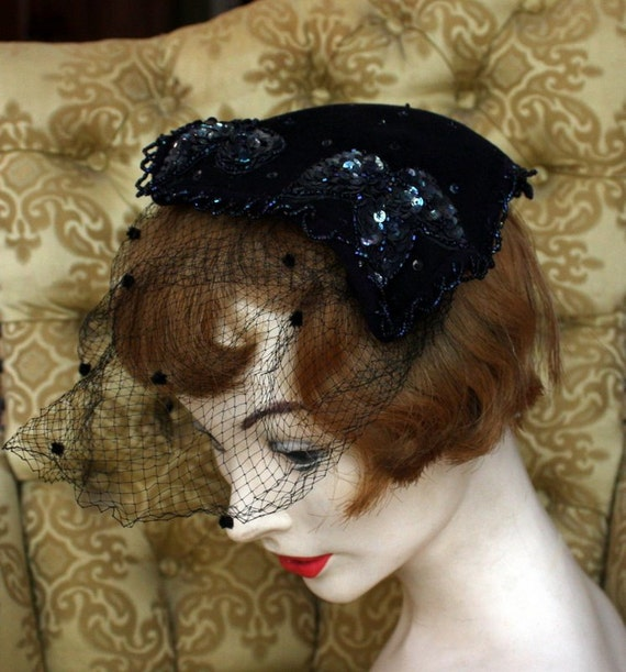 Navy Blue Felt Fascinator with Sequins and Net Blusher Veil