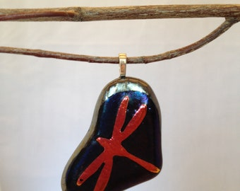 SALE! Free Form Dragonfly Dichroic Glass Pendant