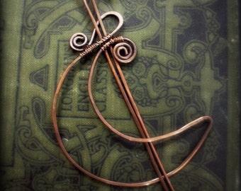 Moon Shawl Pin- Copper Crescent Moon Hair Barrette or Shawl Pin