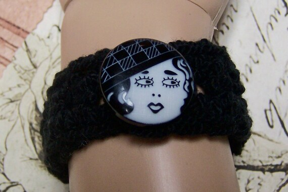 Stretchy Black Cuff Bracelet  with Button Closure - Ready To Ship