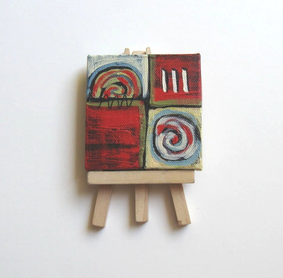 """Abstract Miniature Painting original acrylic Mini Canvas with red background- """"Red Circles"""""""