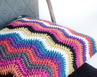 Crochet Cushion Cover - Liquorice Ripple