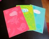 3 zine set - Aya's Diary Vol. 1, 2, 3 -----   Silkscreen cover hand made zine