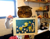 "5 color hand printed silkscreen poster  ""Little Elephants and box-kun"""