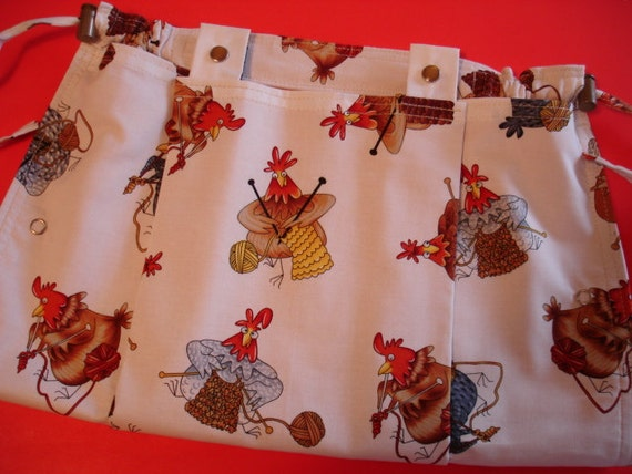 KNITTING BAG APRON - Made To Order - Timeless Treasures Hen Rare Fabric