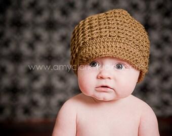 Crochet Toddler Newsboy Hat, Warm Brown Girl Cap, Little Boy Nutmeg Beanie, Kid Soft-Brimmed Visor, MADE TO ORDER, Children Clothing