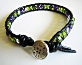 Green Blue Purple Eternal Knot Multi-Color Single Wrapped Ladies Bracelet