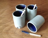 Coffe Tumblers Light Blue and Blue with little spoon  - MADE TO ORDER  - Stoneware Tumbler - Ceramic Tumbler - set of 4