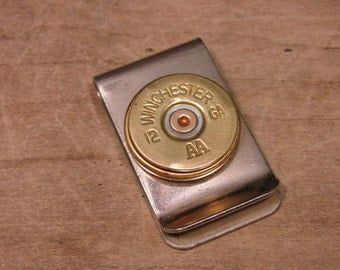 Shotgun Casing Jewelry - Gift for Man - Father's Day - 12 Gauge Shotgun Casing Money Clip - Great Gift for Man or Groomsmen Gifts