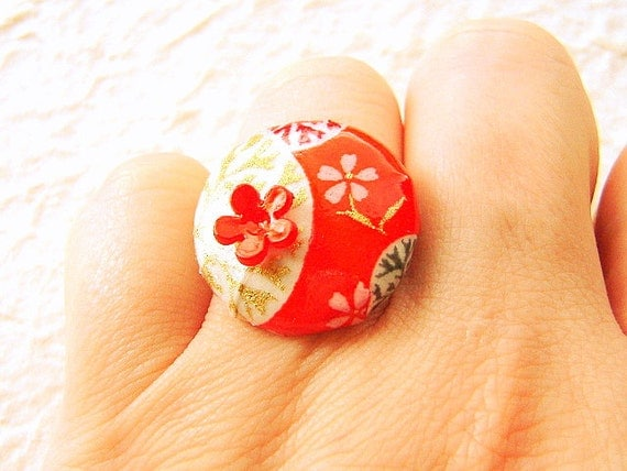 Chiyogami Ring Japanese Yuzen Paper Ring Cherry Blossoms Red
