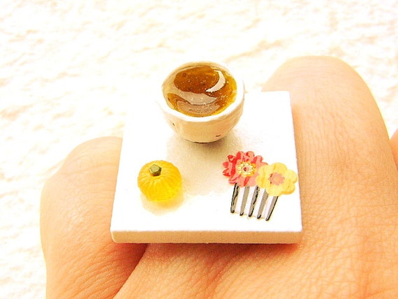 Green Tea Ring  Miniature Japanese Food Ring Japanese Tea And Sweet SALE