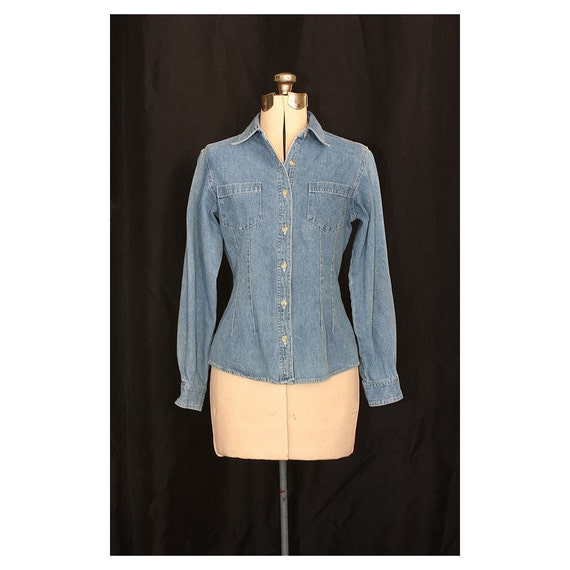 Vintage 80s Busy Day Chambray Shirt