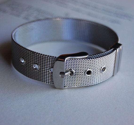 Vintage Silver Mesh Buckle Bracelet