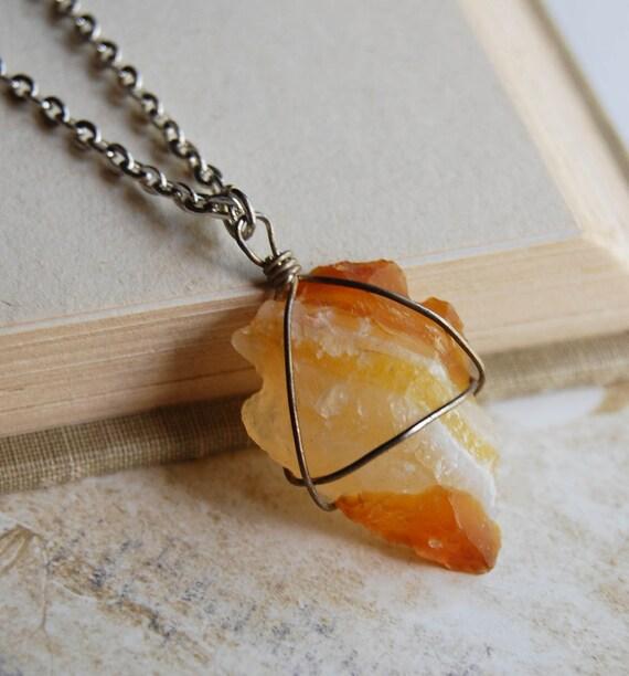 Citrine Stone Arrowhead Necklace
