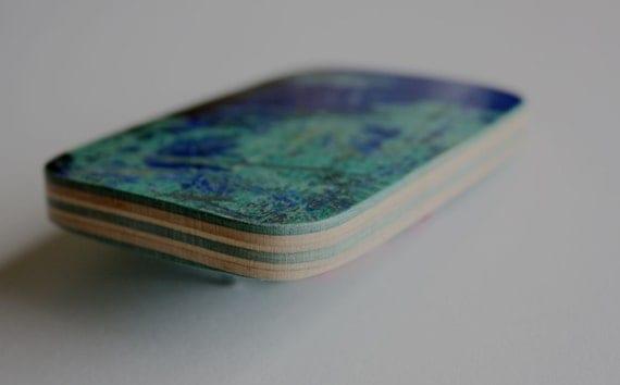 Recycled Skateboard Belt Buckle-So Blue