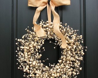Wedding Wreath - Wreath - Champagne - Year Round Wreath