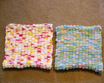 Hand Knitted - Lemonade or Candy Floss Mini Pom Pom Baby Blanket/Pet Blanket