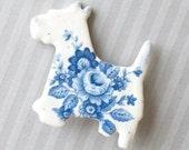 Porcelain Dog Brooch. Blue Rose Bouquet.  Westie or Scottie