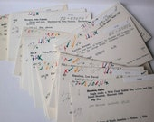 Library Card Catalog Cards 50 Inventory Collage Pack Heavily Marked Vintage Paper Ephemera for Altered Art, Mixed Media Supply