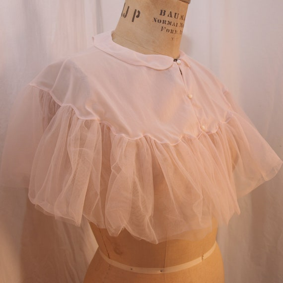 Vintage Vanity Fair Sheer Pink Bedjacket with tons of light pink tulle - size M
