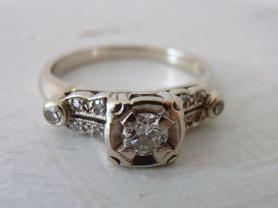 Vintage 14k Square Top 1930s Diamond Engagement Ring