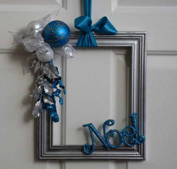 picture frame christmas wreath silver white and turquoise