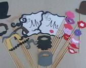 Photo Props for Wedding Photo Booth - Photo Booth Props- Party Props-Set of 26