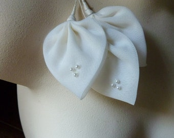 3 Vintage Leaves in Ivory Organdy with Pearls for Bridal Headpieces,  Millinery, Fascinators, Bouquets, Corsages