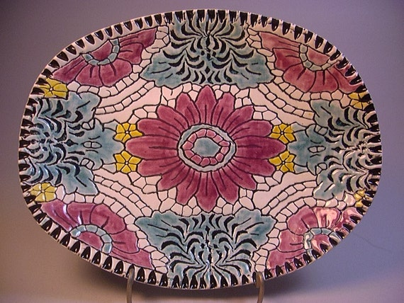Ceramics, Pottery, Home Decor,Colorful Platter, Tray, Decorative Plate, Dish, by Dana Morton