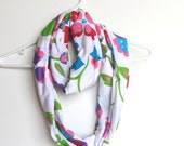 Infinity Scarf. Circle Cowl Scarf. Bright Floral Jersey Cotton. For Her. Women Spring Fashion. Scarf Accessory. Rainbow Garden.