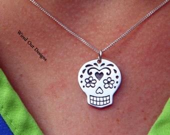 Sterling Silver Mexican Sugar Skull Necklace - Day of the Dead, Bones, Skulls, Skeleton, Family