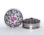 "White and Pink Crystal Heart Plugs 1 1/8"" 1 3/16"" 1 1/4"" 28mm 30mm 32mm 1 1/8"" 1 3/16"" 1 1/4"""